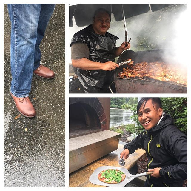 It might be wet and windy out, but thank goodness for @bogsfootwear #JohnnyChukka #waterproof boots and #hotfood! We have gourmet wood fired pizza and Ofa's Island BBQ Chicken.  Come on down to @bishopranch 3 and support #localfood! #sanramon #sanramonfarmersmarket #eatlocal