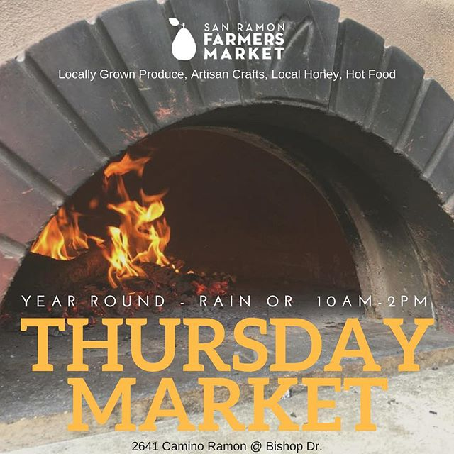 We are so glad to have the sun back for our Thursday Market!  Join us today at @bishopranch 3 for locally grown produce, artisan crafts, local honey, and hot food! #foodlover #food #farmersmarkets #sanramon #bishopranch #sanramonfarmersmarket #localfood #buylocal #woodfiredpizza #praisethesun