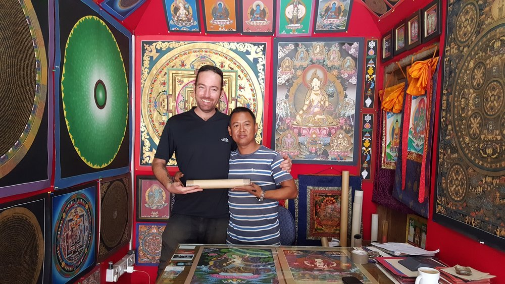 I bought a Thangka Painting from my teacher, Tirtha Lama when I was travelling in Nepal.  I learned the basics of Thangka painting while there. It is truly incredible to study with masters all over the world and incorporate their teachings into my own art and style.
