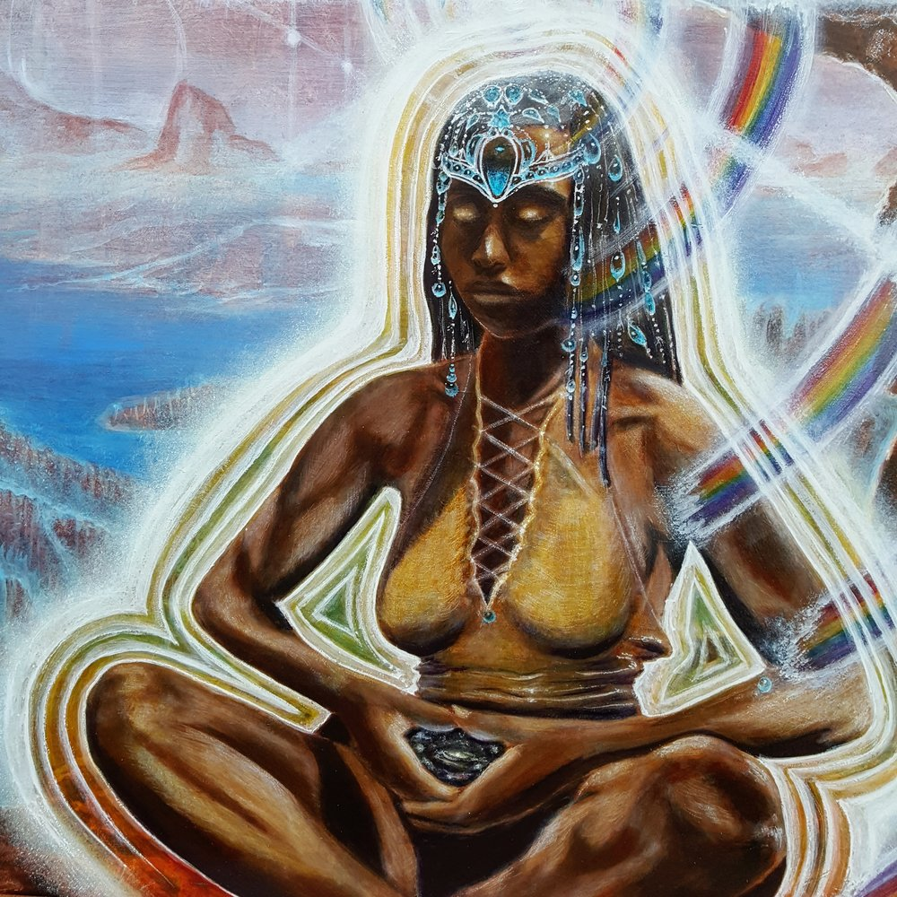 "Detail from Gary Michael Evans' painting, ""Nubian Goddess"", 2018, acrylic, oil, casein on board"