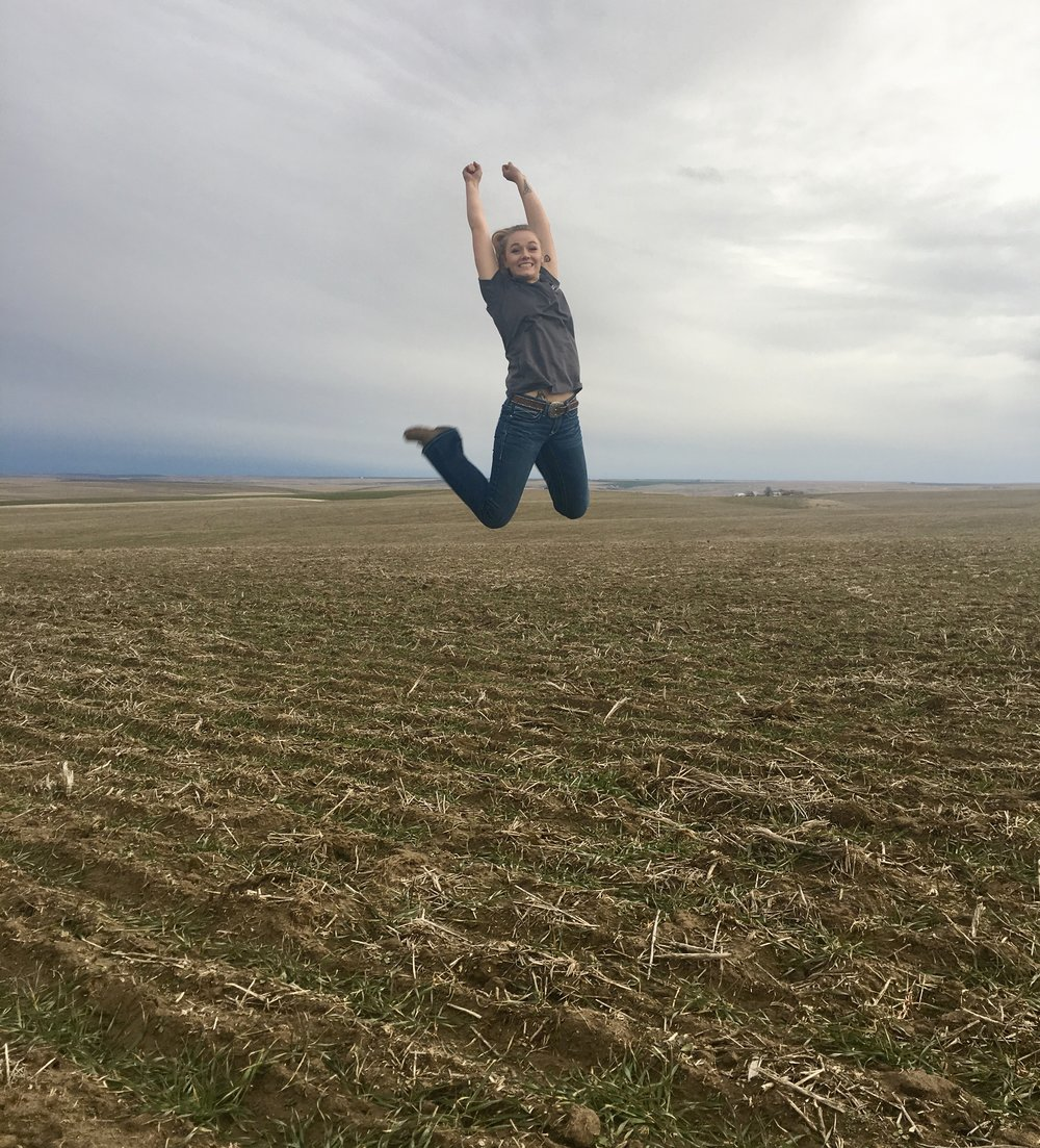 This is one of our fields just north of Lind, WA. Jumping for joy because spring is near and the trit looks good!