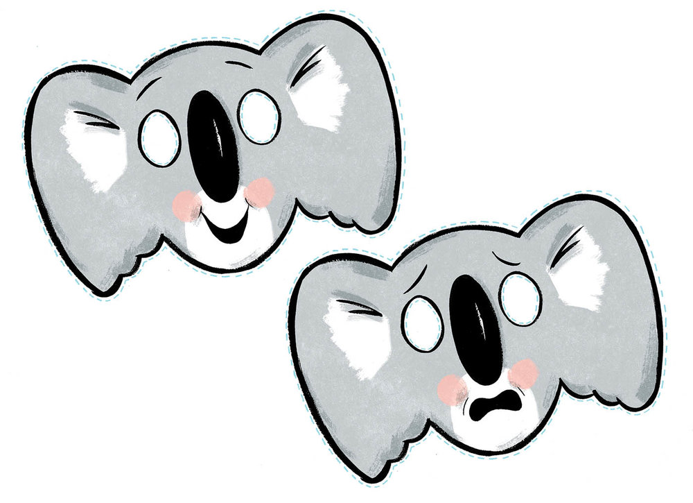 Koala masks - comedy and tragedy