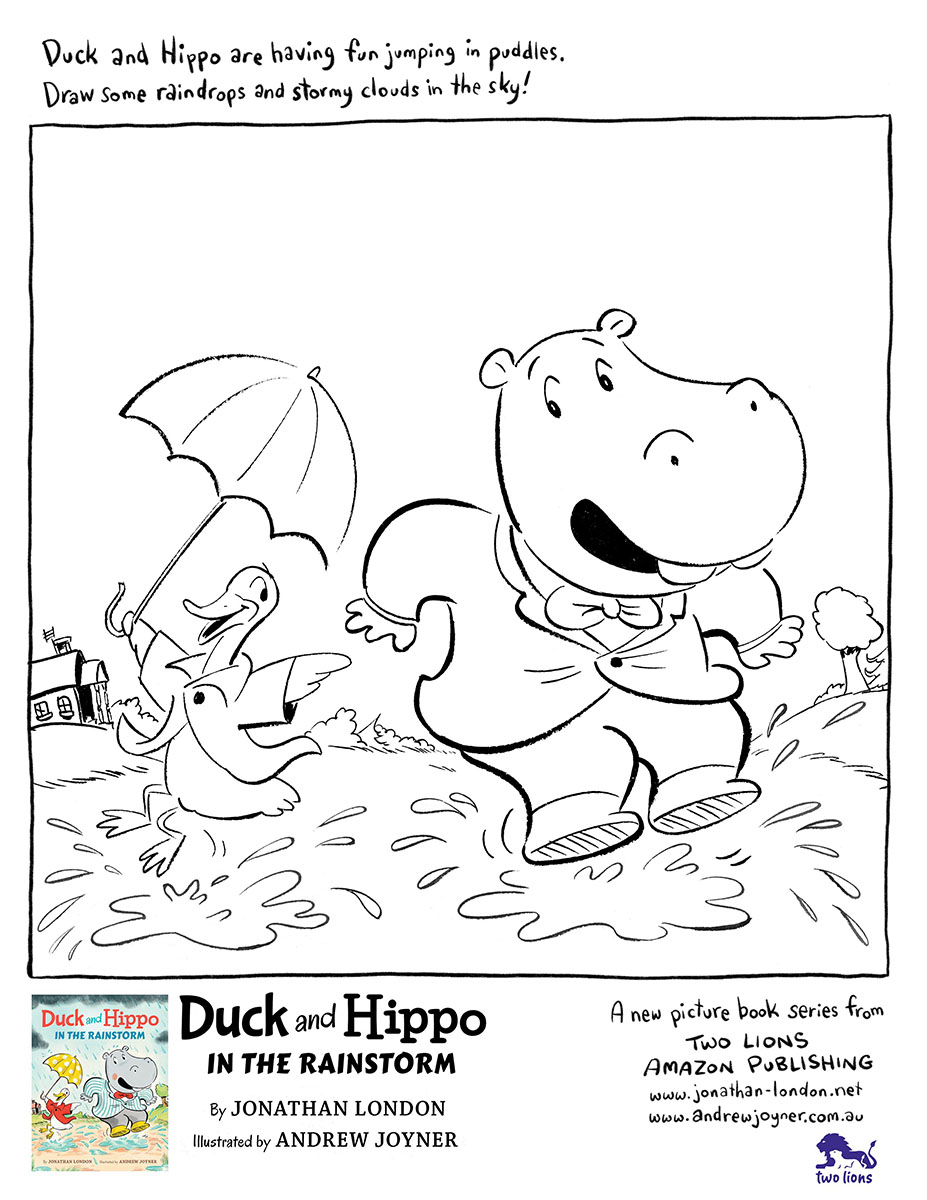 duck and hippo in the rainstorm - colour and draw!