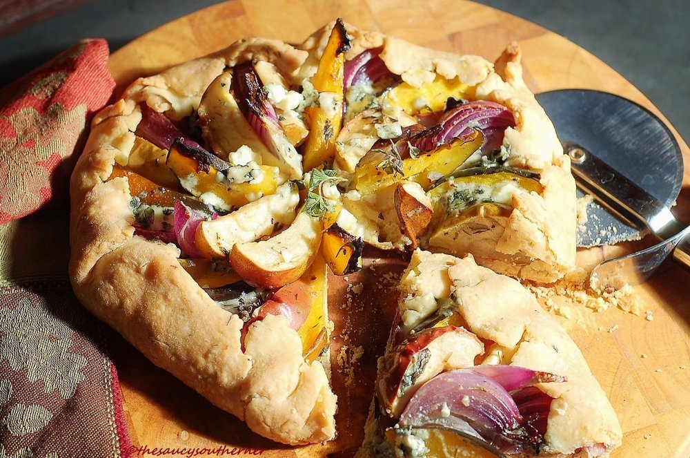 Do you see what we see?  If this looks as glorious to you as it does to us, then we like you. We like you a lot. Sometimes we desire savory and this galette doesn't disappoint. Lots of herbs and wonderful flavor!