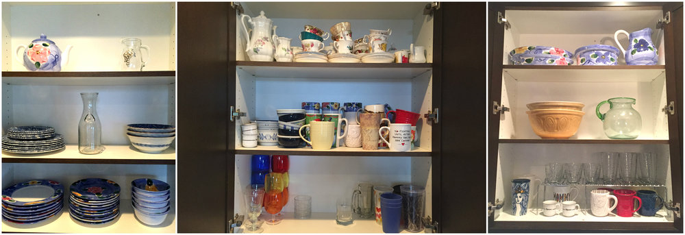The Cupboards: The Before picture is in the center, with the after pictures on either sides. You can see her poor teacup collection crammed in on the highest shelf, and the odd mix of mismatched dishes on the others. ML kept only what sparked joy, and the result is very pretty, simple to access the pieces and to keep them organized.