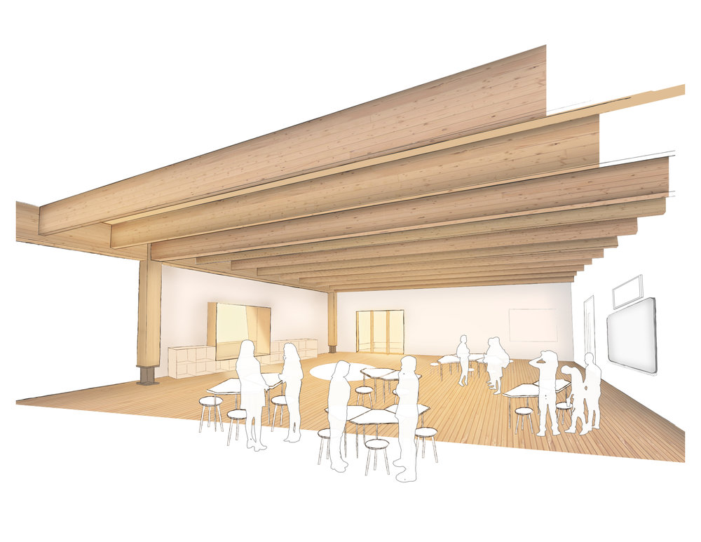 Typical classroom interior finishing , expressing structure and different layers of building construction to allow students to discover and learn from.
