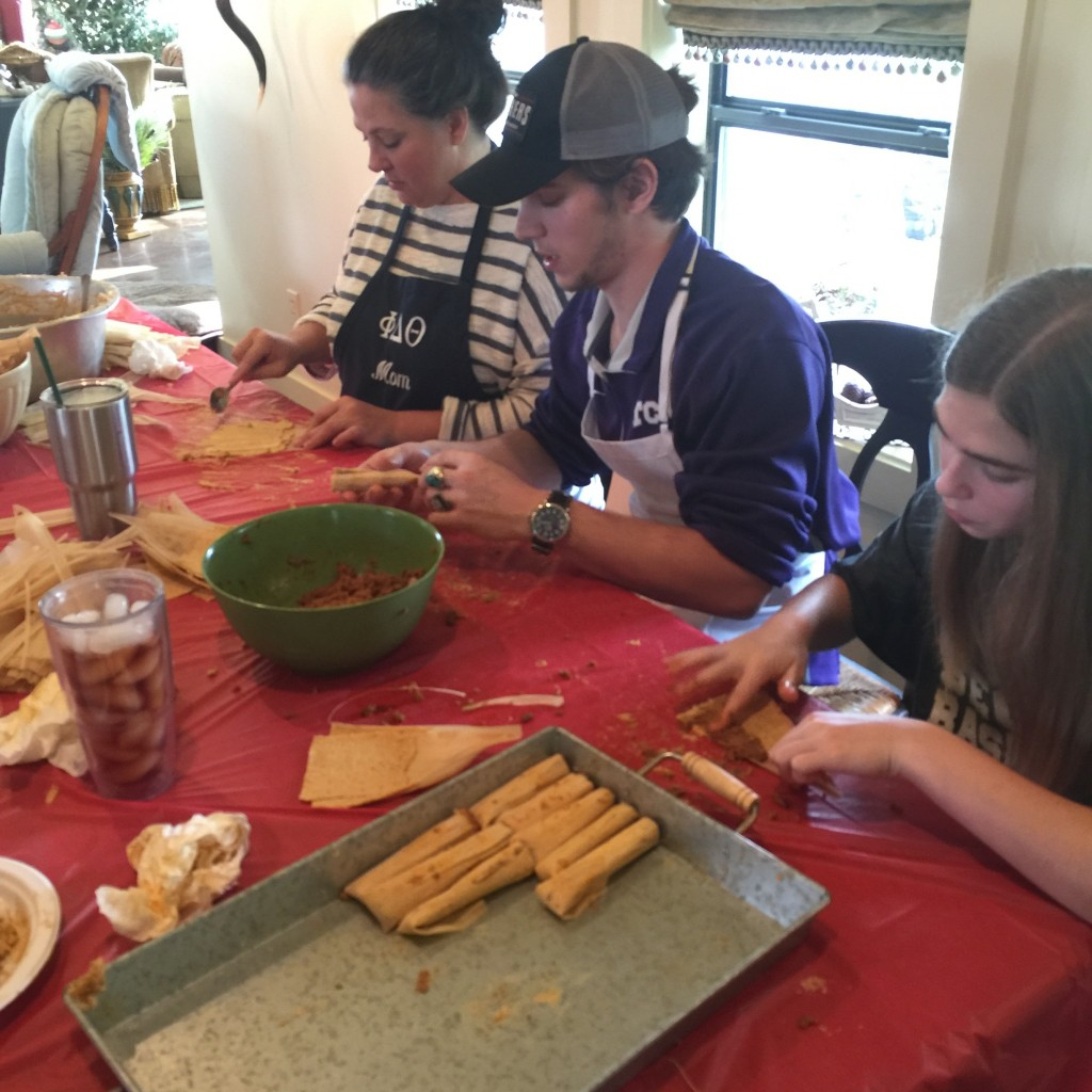 The family, young and old, assembled to partake in the tamale making. Not saying you are old Aunt Audrey!