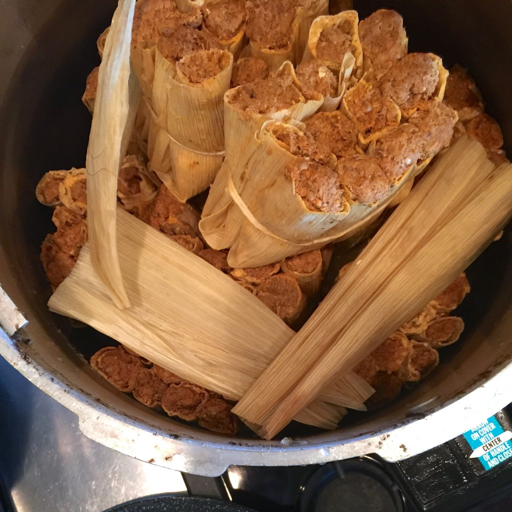 Tamales ready to be steamed.