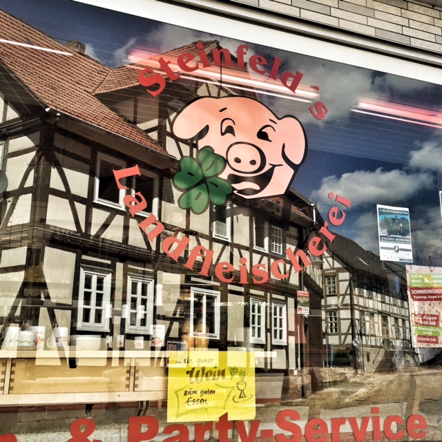 The butcher shop of a small German town.