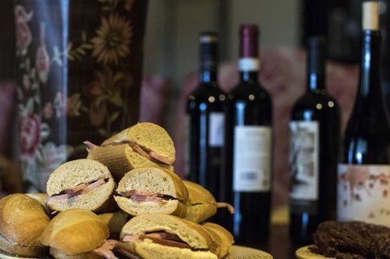 A classic French lunch: Ham and butter sandwiches and French wine