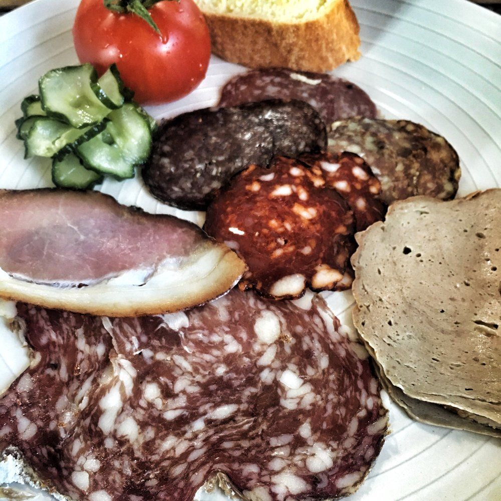 Typical butchers breakfast: salami, lomo, and leberwurst