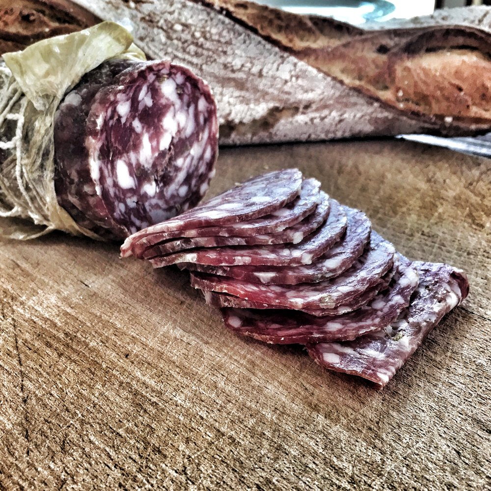 Sliced salami for breakfast.