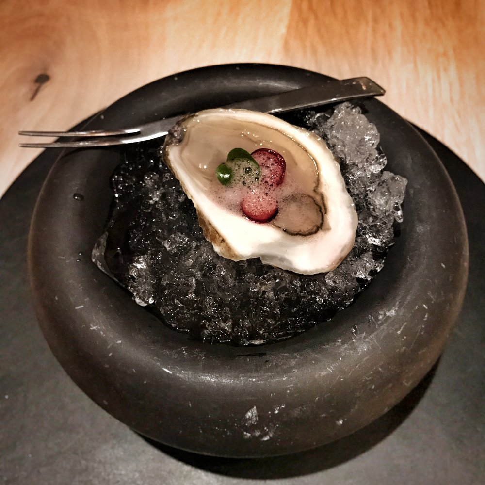 The opening course at Agern - oyster on ice.