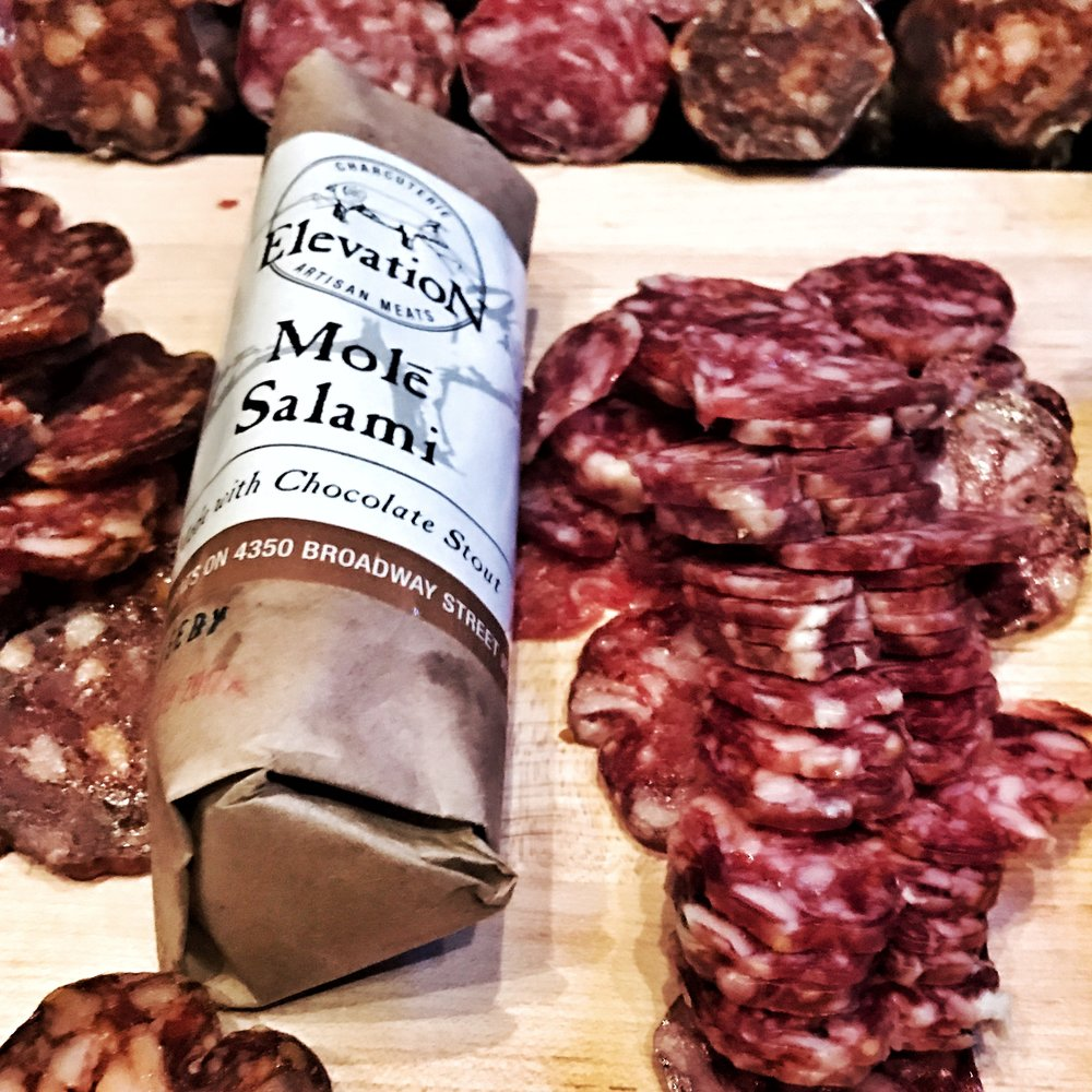 An amazing Molé salami from  Elevation Charcuterie  out of Denver, CO.