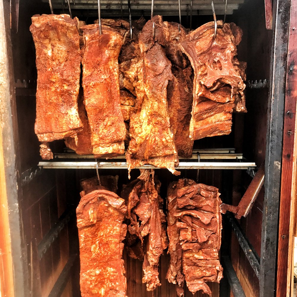 Danish BBQ hanging in the cold smoker.