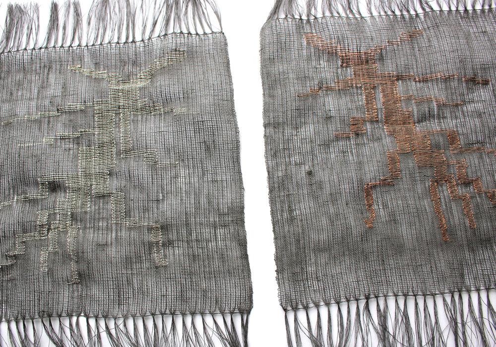 Metal Morphosis , 2017, Alison Robinson, woven linen, copper wire, silver wire