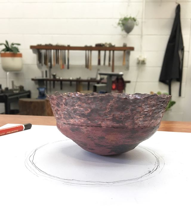 A fabulous start to our full weekend Raising a Copper Bowl workshop! Winter weather is the best kind - keeping warm hammering all day! 🔨