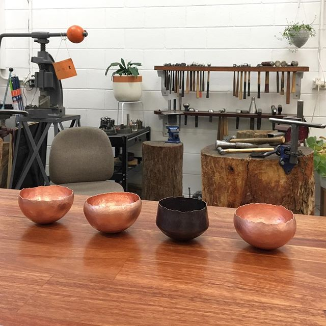 What a fabulous group of four we had in the studio for our Raising a Copper Bowl workshop! Our next workshop in August booked out in record time, so make sure you email us if you'd like to do one so we know to add extra dates! Also if you're interested in learning this age old silversmithing technique, let us know if you would be keen for a longer intensive workshop! We're dreaming up some exciting things 💭