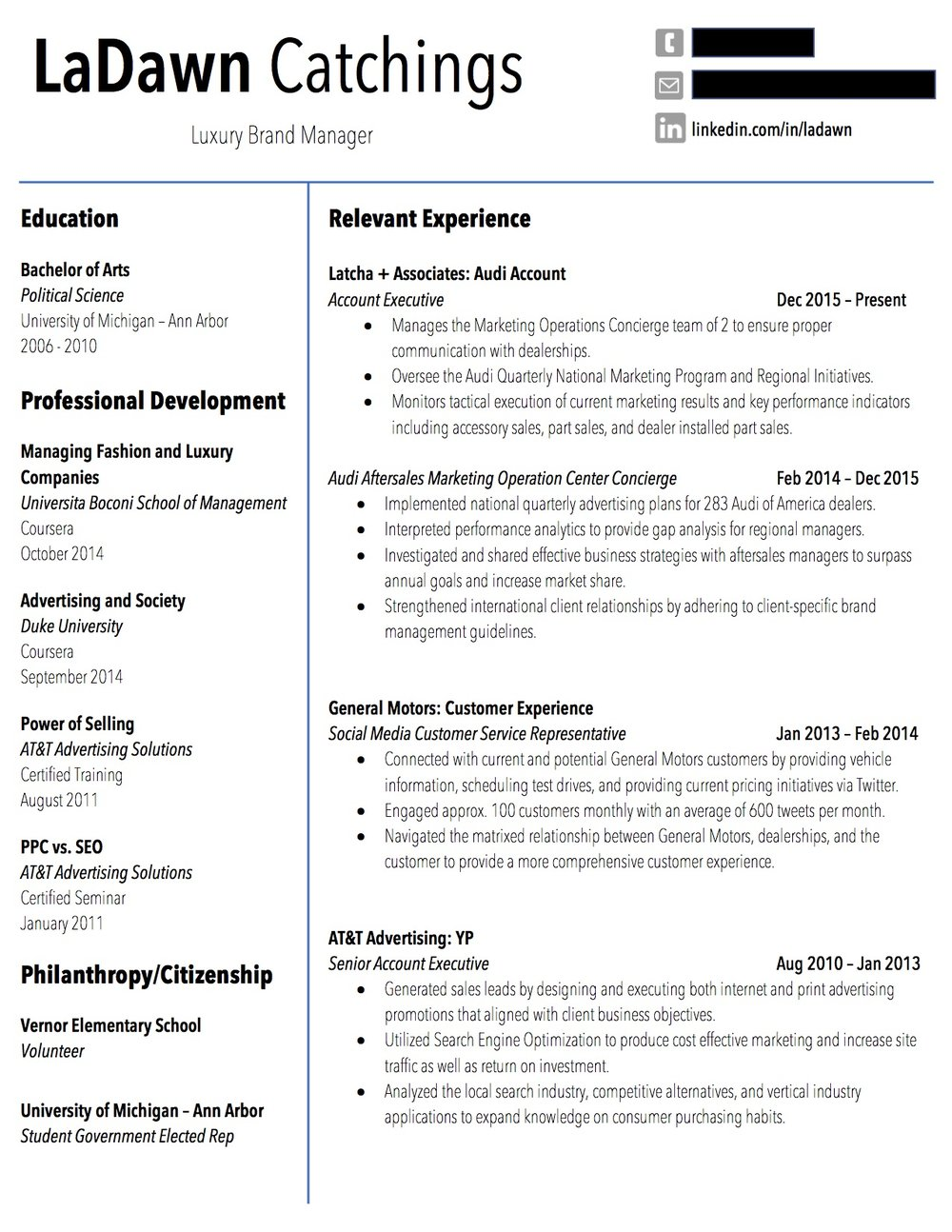 Client Resume #1. Click to enlarge.