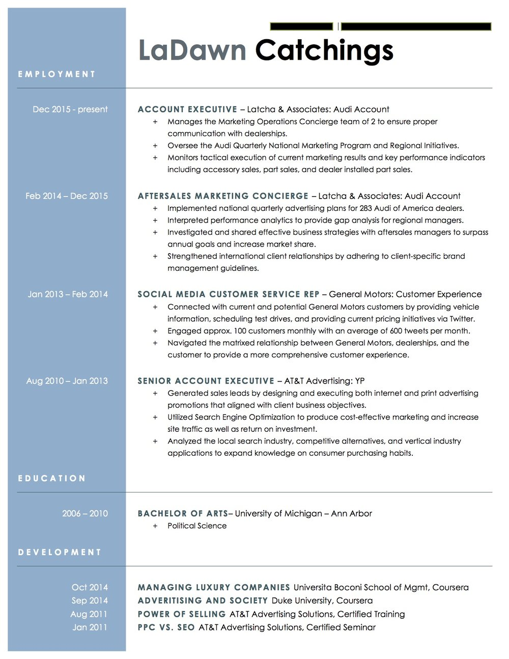 Client Resume #2. Click to enlarge.
