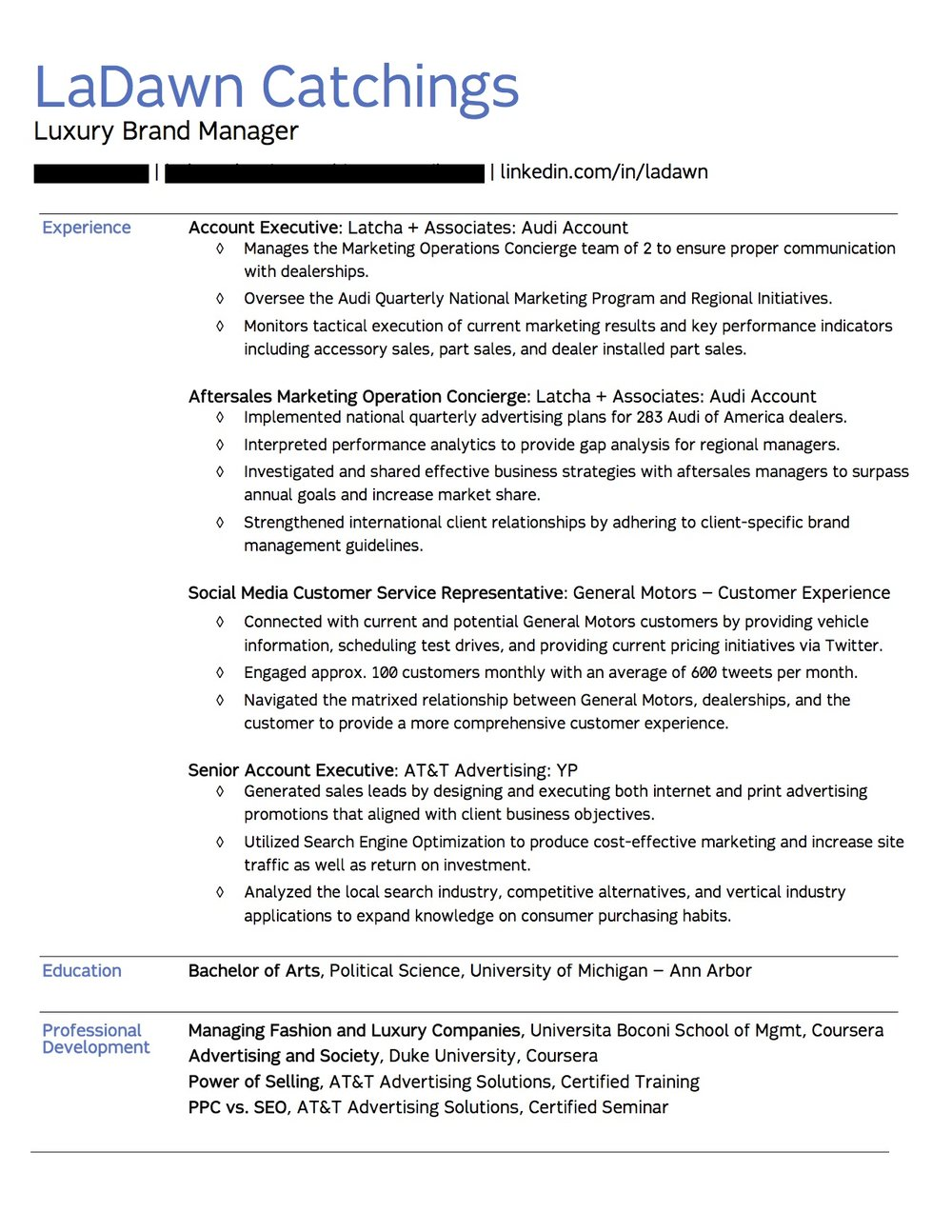 Client Resume #3. Click to enlarge.