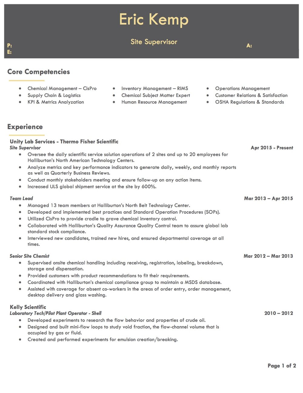 Client Resume #5 pg 1. Click to enlarge.