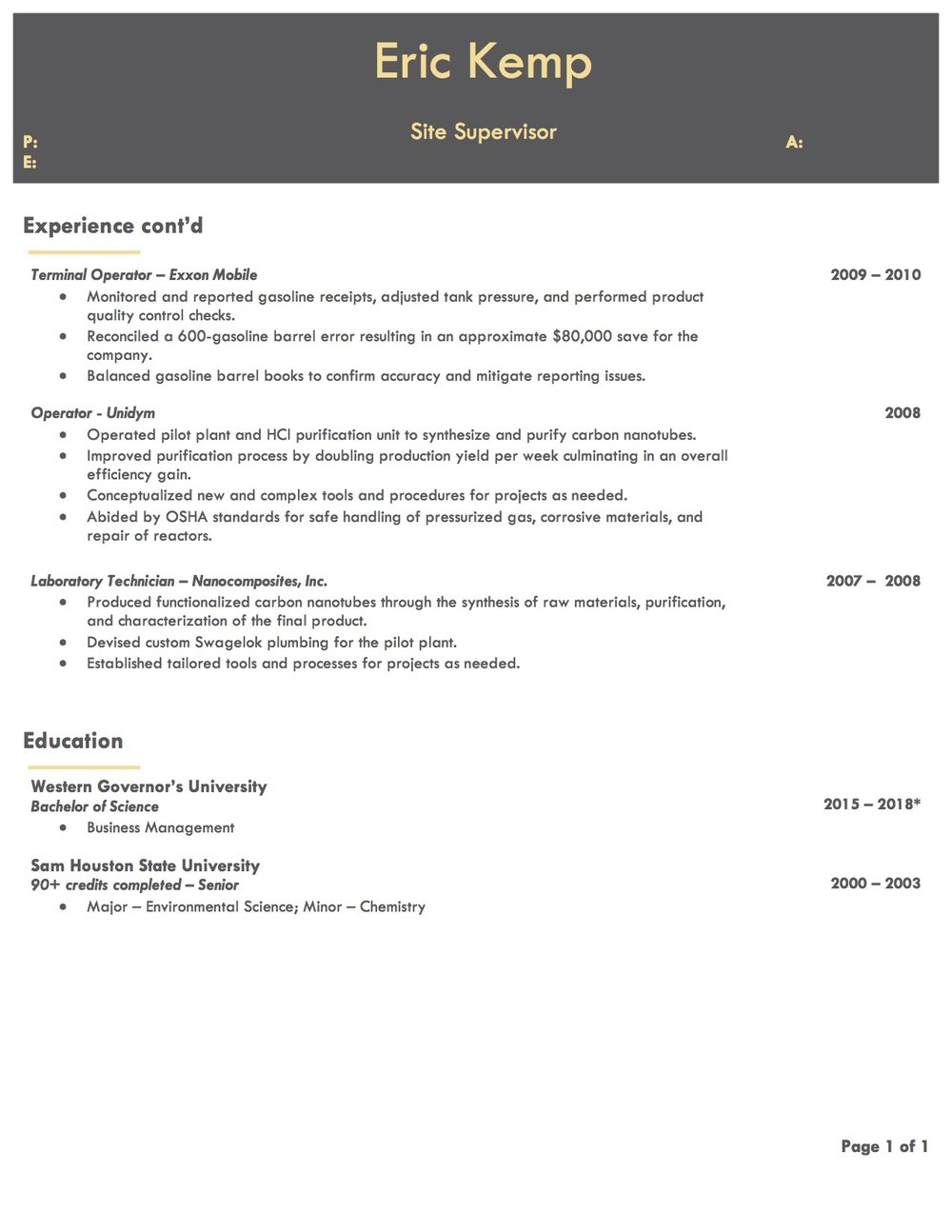 Client Resume #5 pg 2. Click to enlarge.