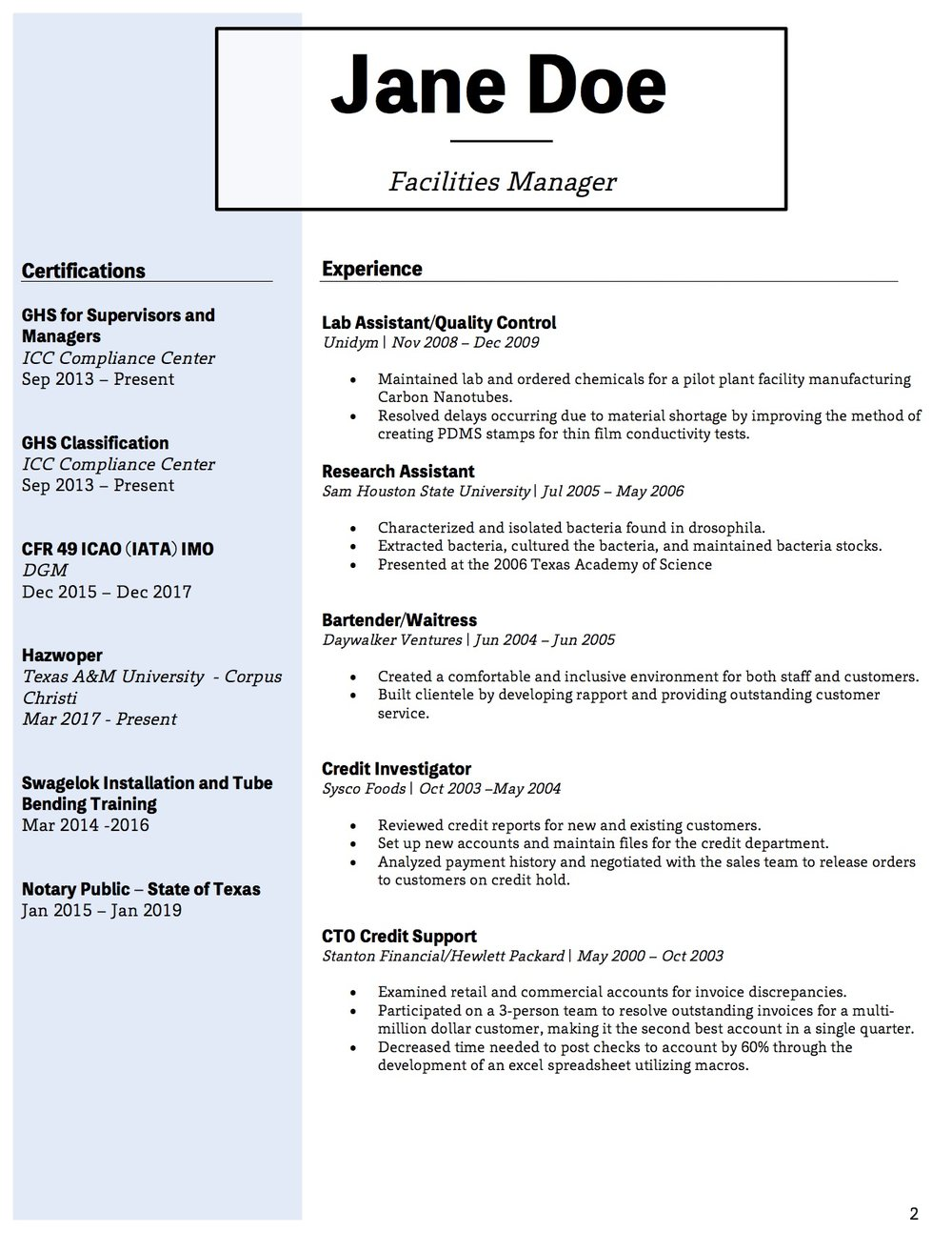 Client Resume #6 pg 2. Click to enlarge.