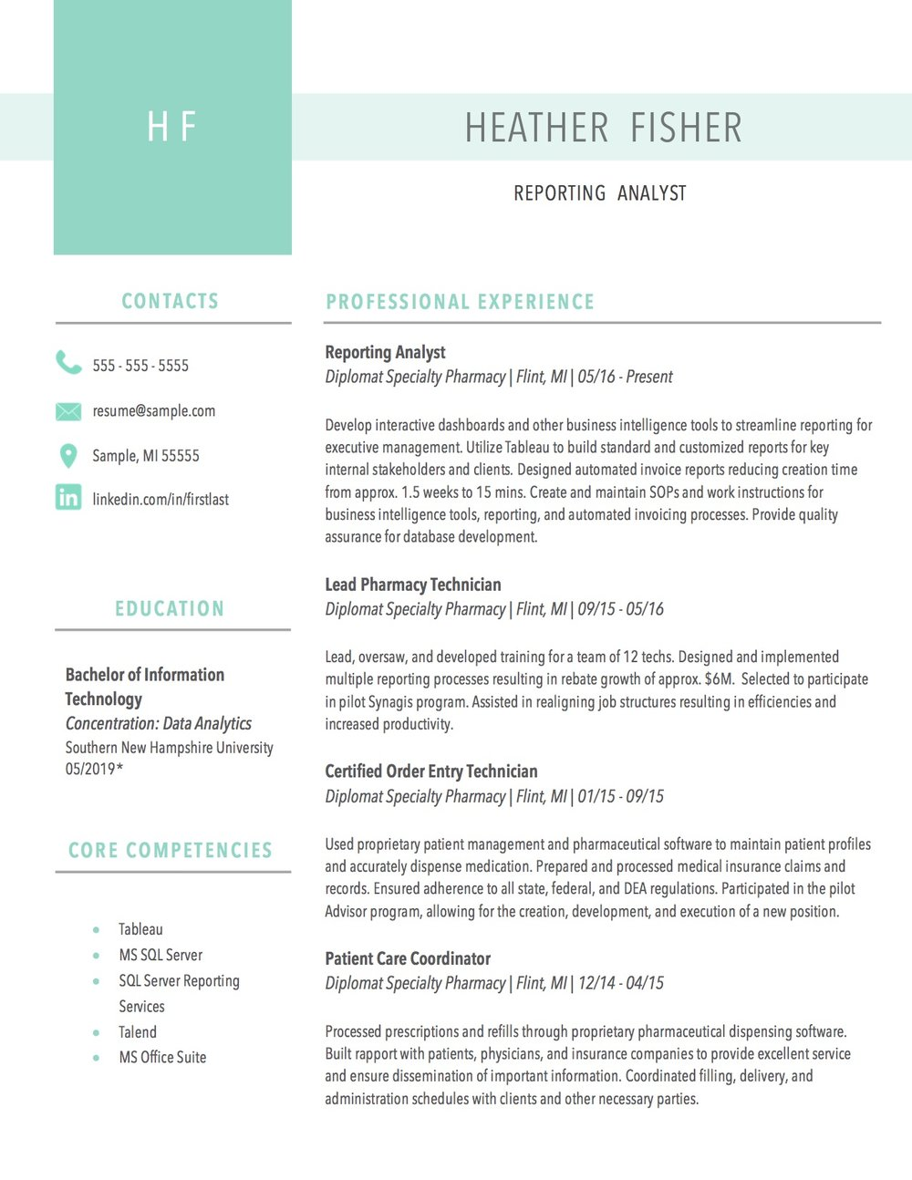 Client Resume #10. Click to enlarge.