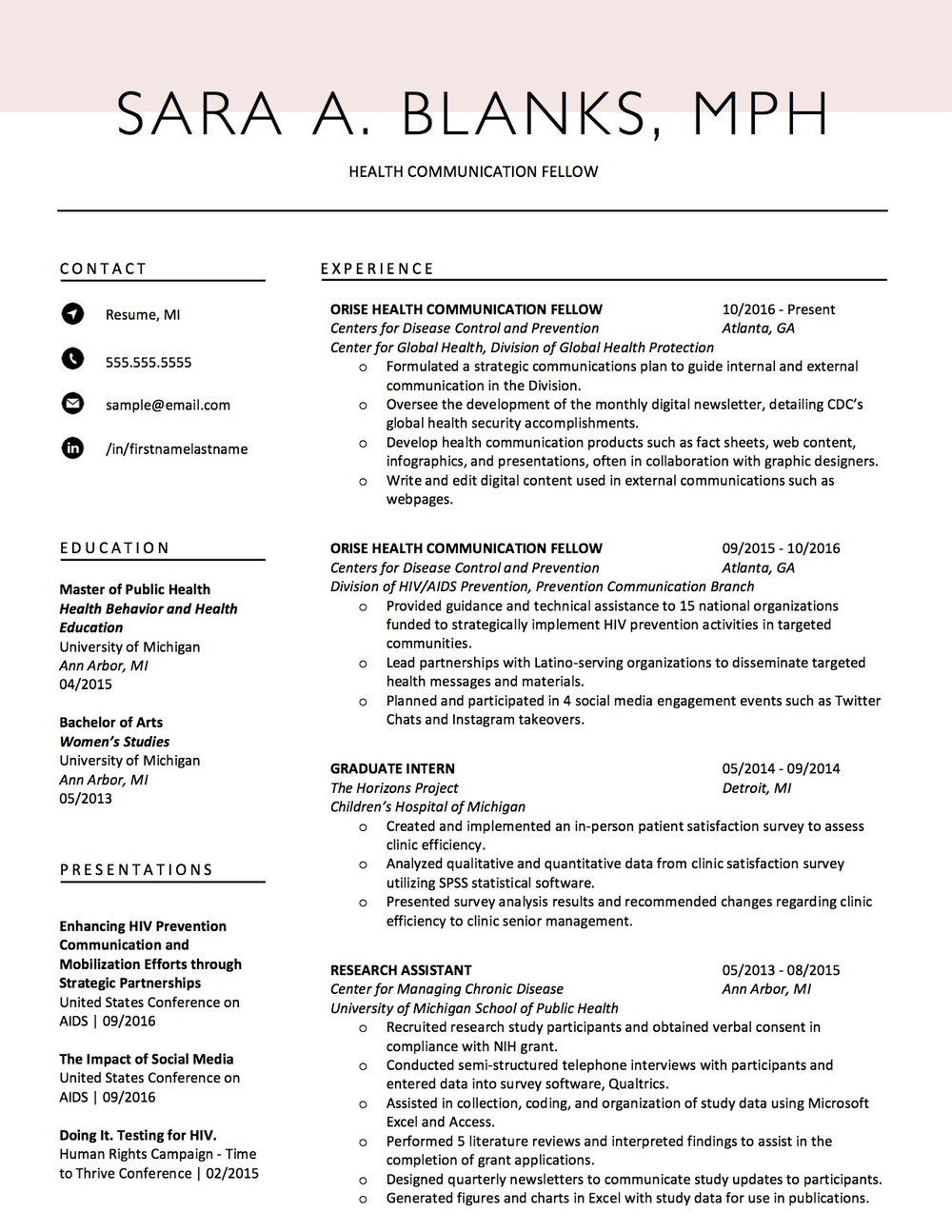 Client Resume #13. Click to Enlarge.
