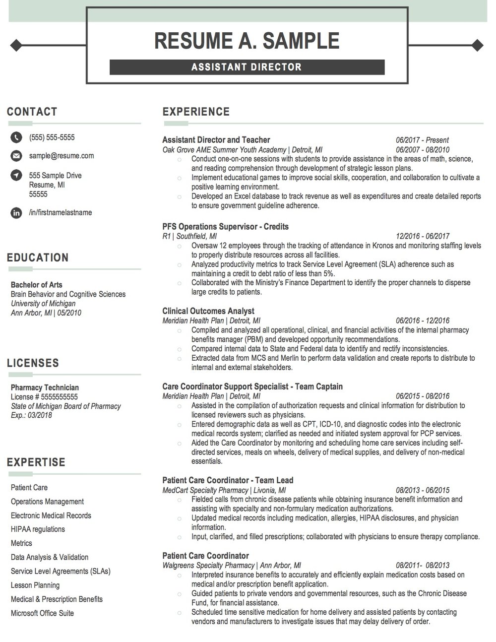 Client Resume #15. Click to Enlarge.