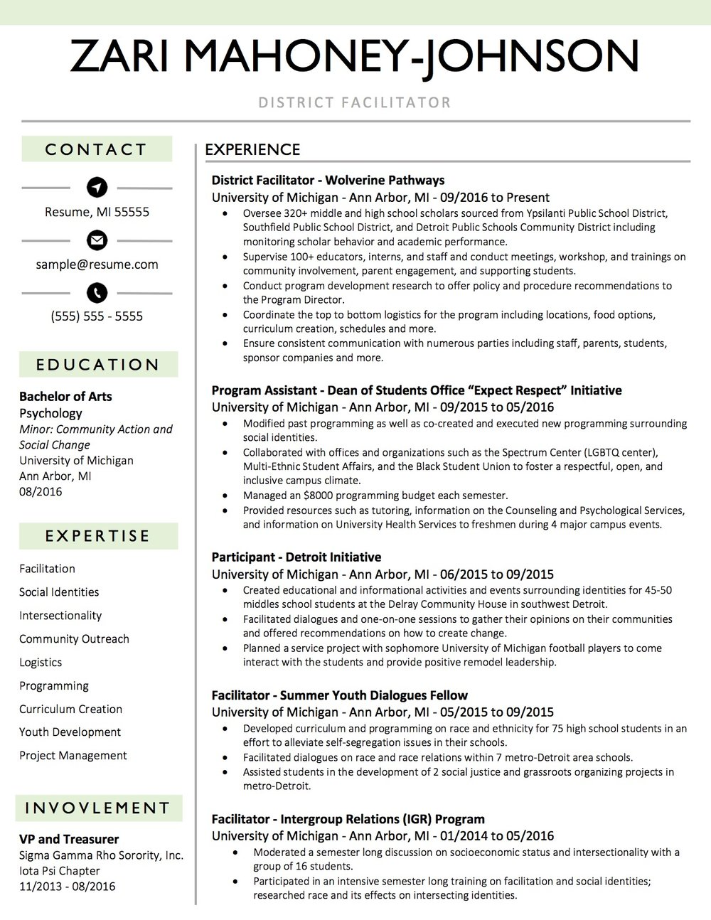 Client Resume #18. Click to Enlarge.