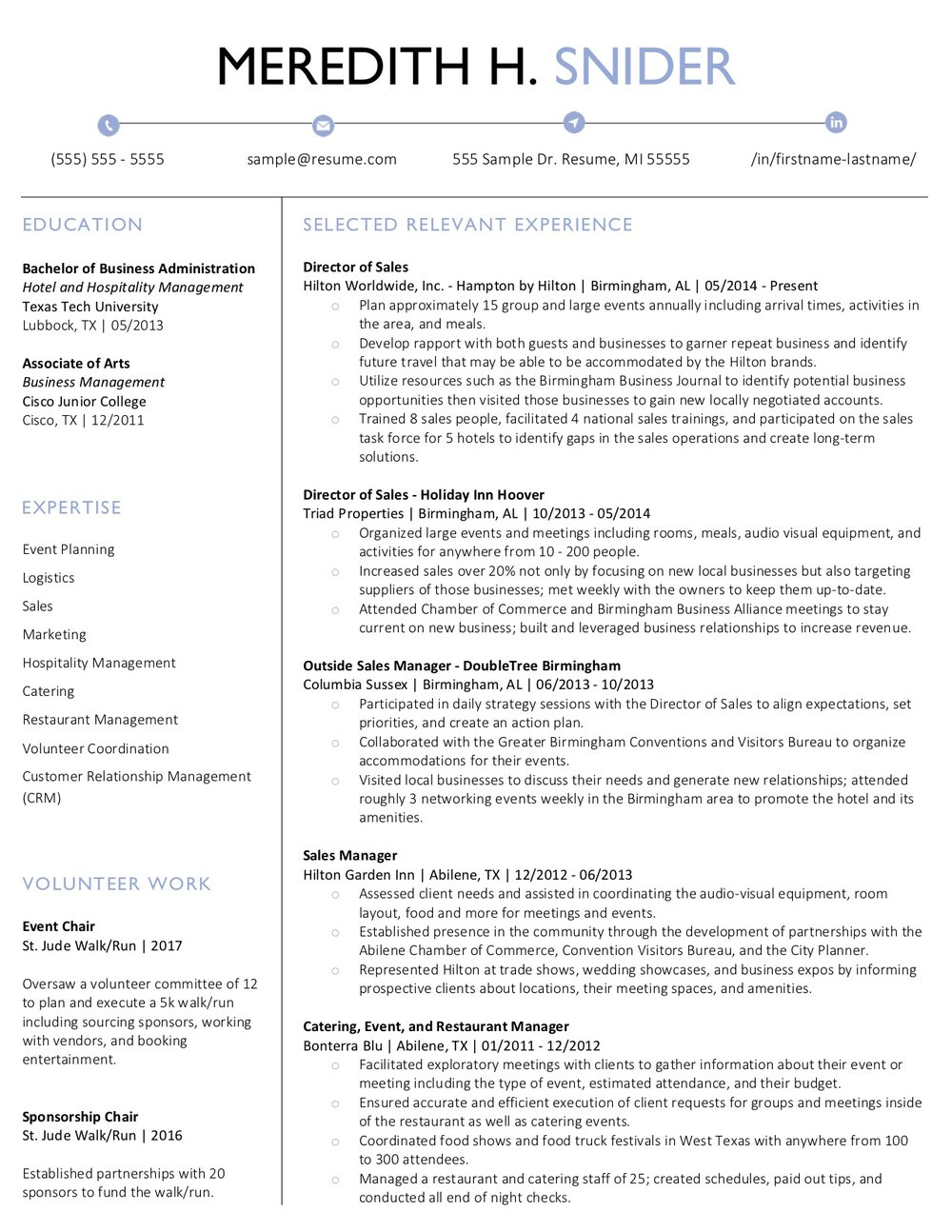 Client Resume #22. Click to enlarge.