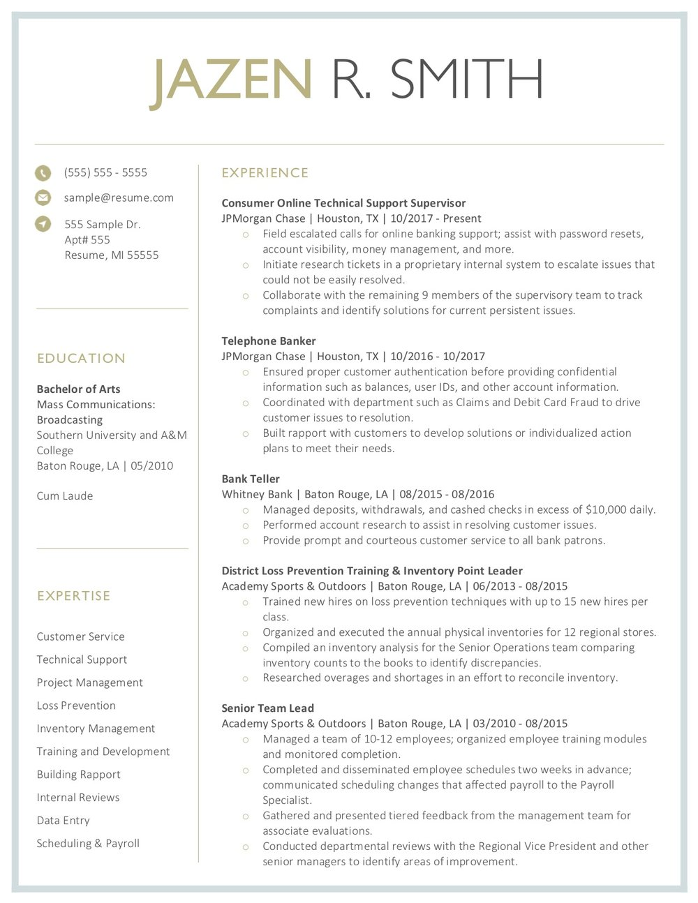 Client Resume #24. Click to enlarge.