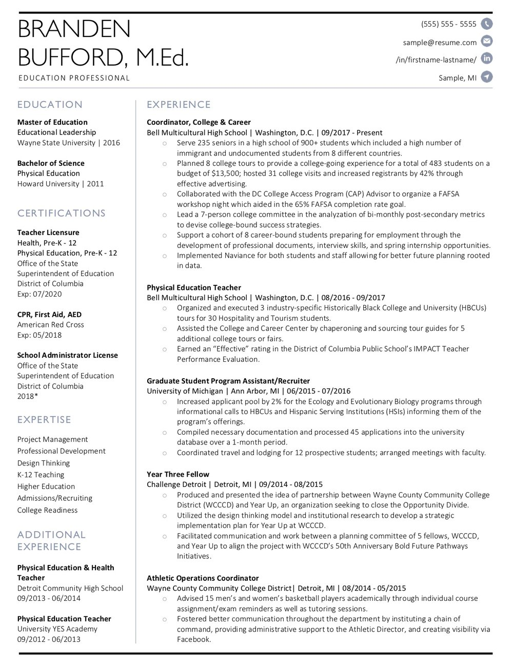 Client Resume #28. Click to enlarge.