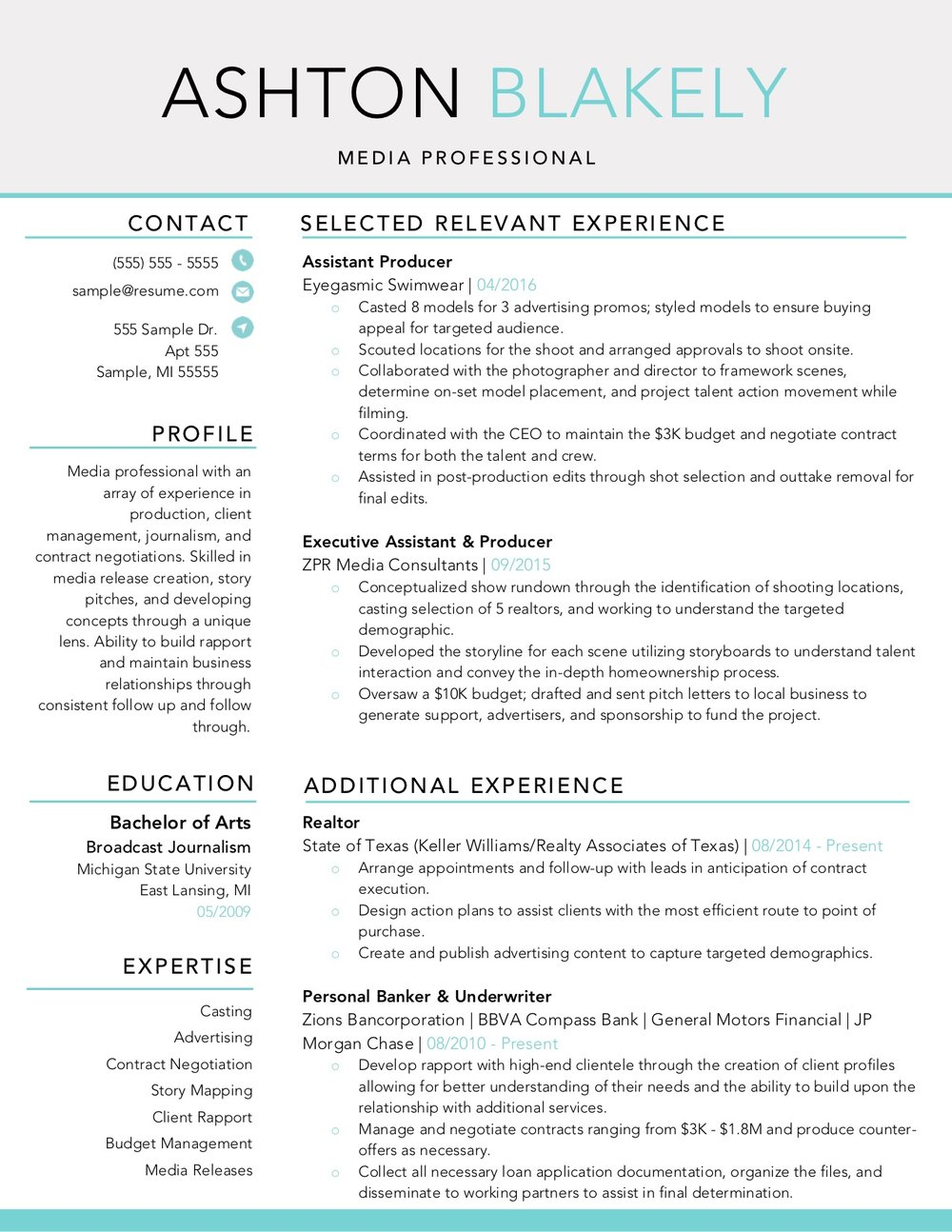 Client Resume #32. Click to Enlarge.