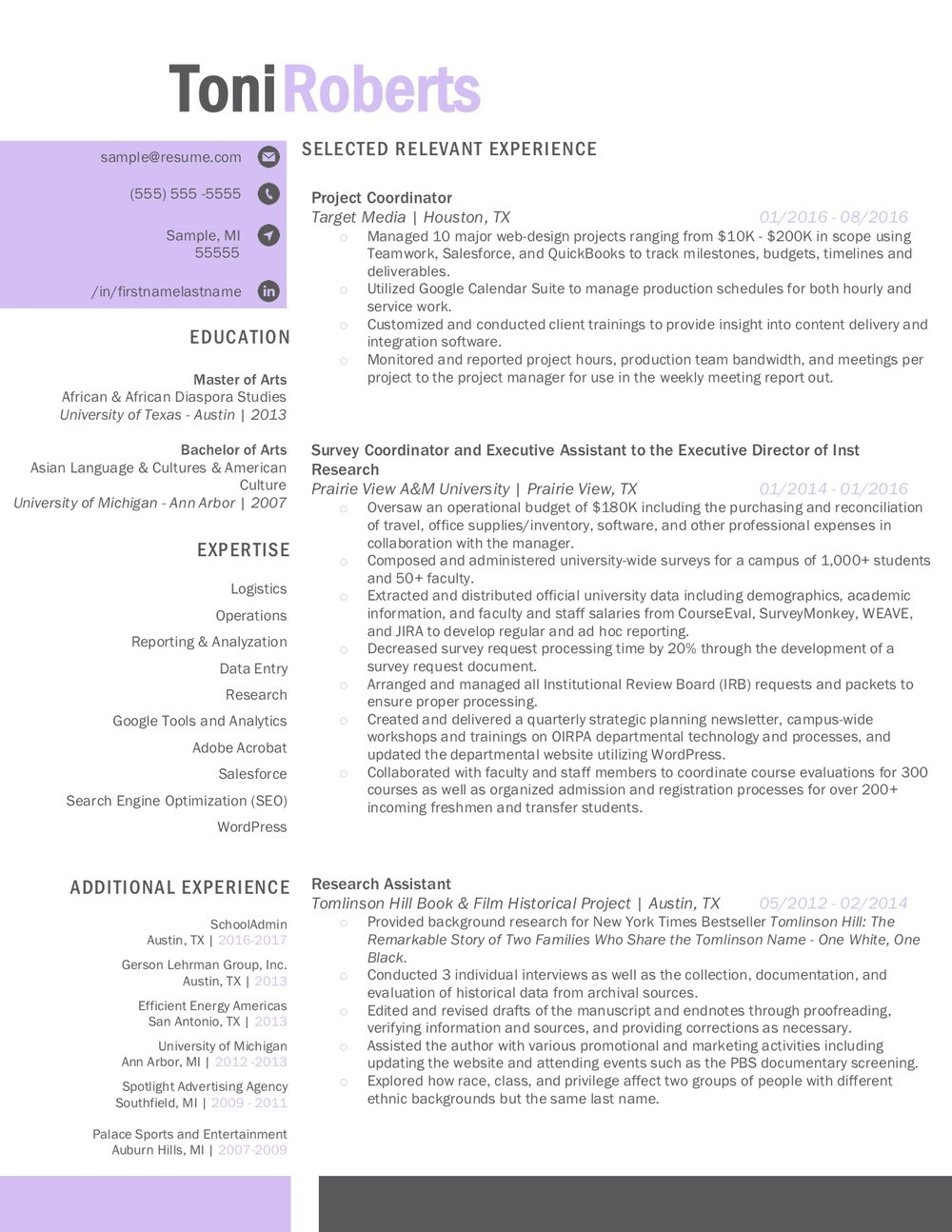 Client Resume #33. Click to Enlarge.