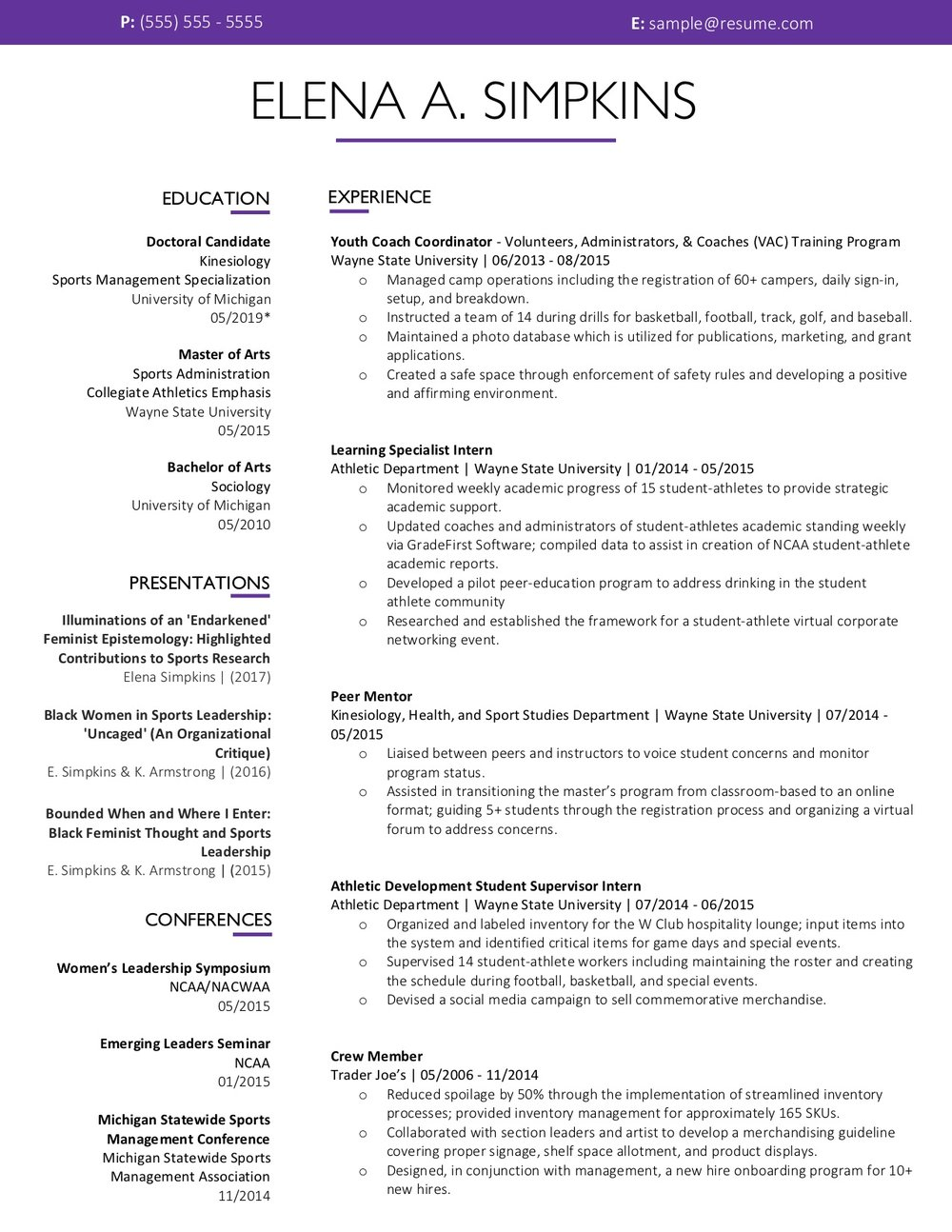 Client Resume #35. Click to Enlarge.