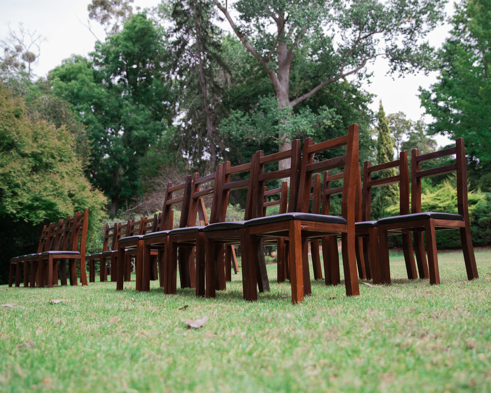 The Rustic Barn reclaimed Jarrah ceremony chairs