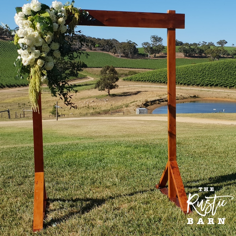 REAL WEDDING - The Rustic Barn two-post Wedding Arbour at Longview Vineyard.