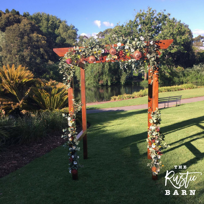 REAL WEDDING - The Rustic Barn four-post Wedding Arbour in Botanic Gardens.