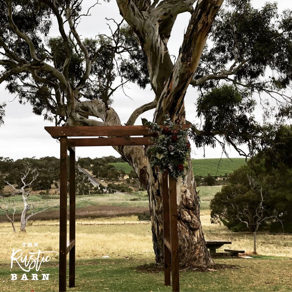 REAL WEDDING - The Rustic Barn four-post Wedding Arbour at One Paddock Winery