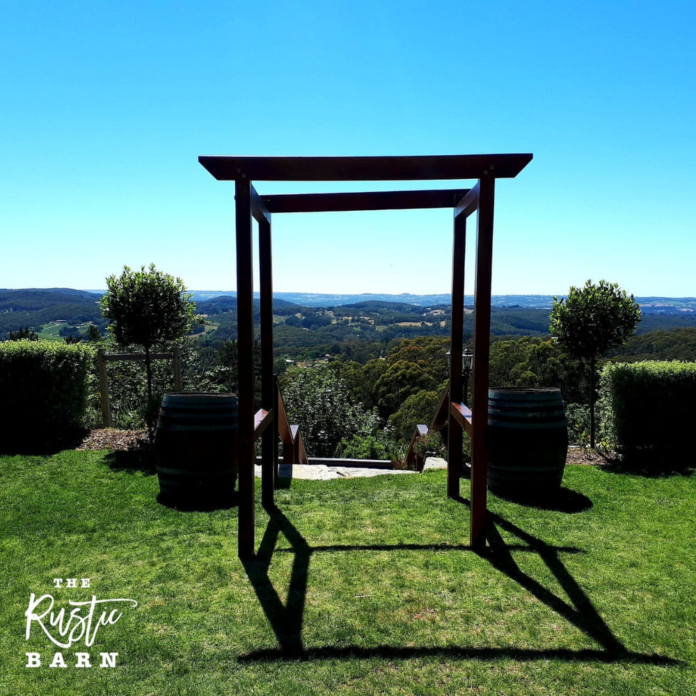 REAL WEDDING - The Rustic Barn four-post Wedding Arbour at Mt Lofty House.