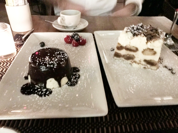 Round one of dessert: Panne semifreddo covered with melted chocolate, left, and tiramisu.