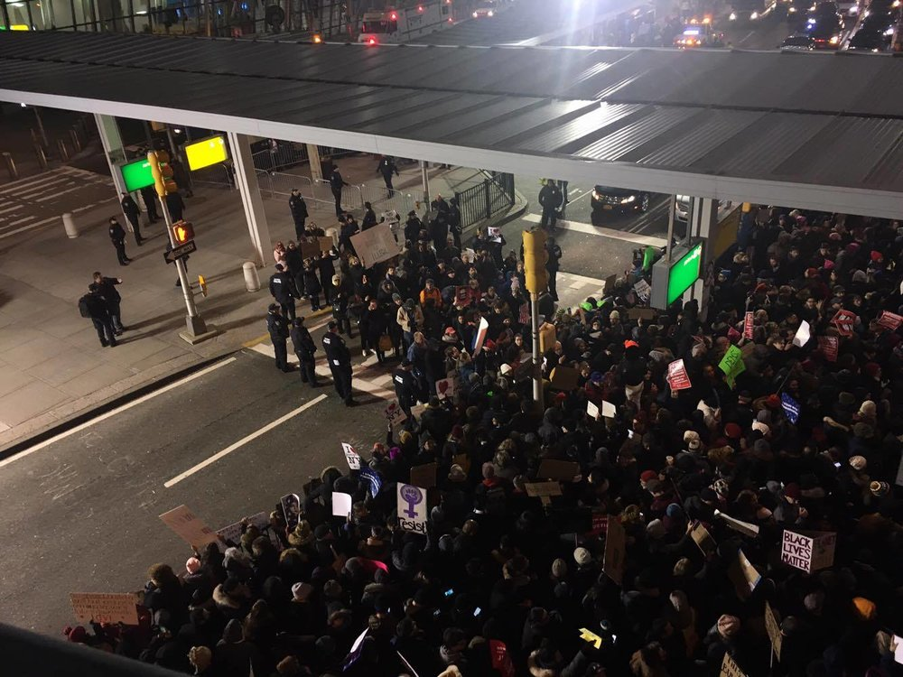 More protesters join the crowd, John F. Kennedy International Airport Terminal 4.