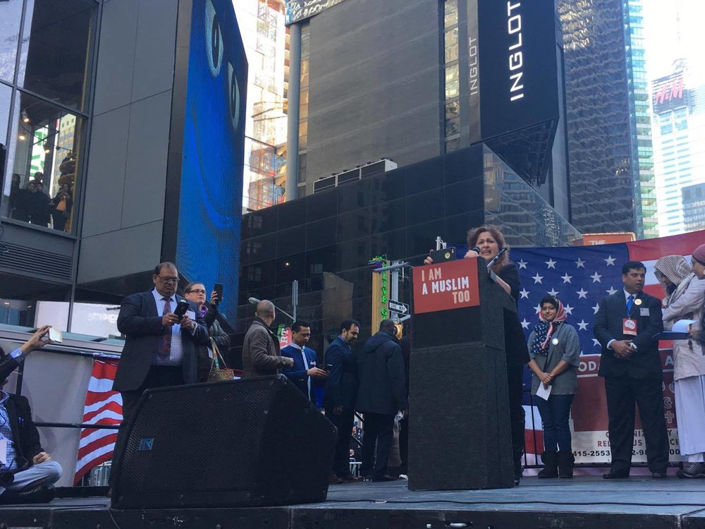 Mother of a Muslim NYPD officer who died in the 9/11 attacks gives a speech, Times Square.