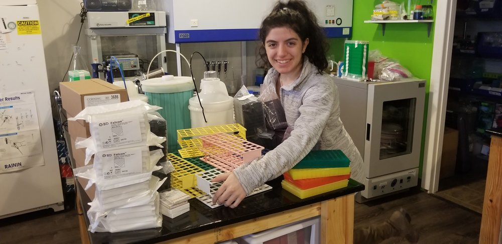 Roya, helping to start a lab in LA called Polymerspace. Supplies donated by Zymogenetics.