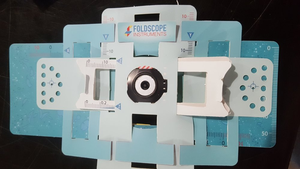 A completed Foldscope Microscope.