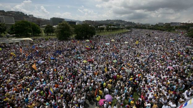 Just a small glimpse into the massive amounts of public displeasure with their government and President Maduro - Courtesy of BBC.com