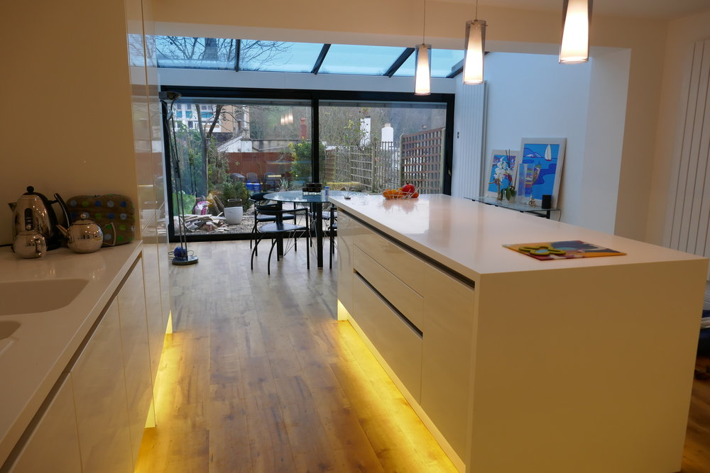Kitchen showing glass extension
